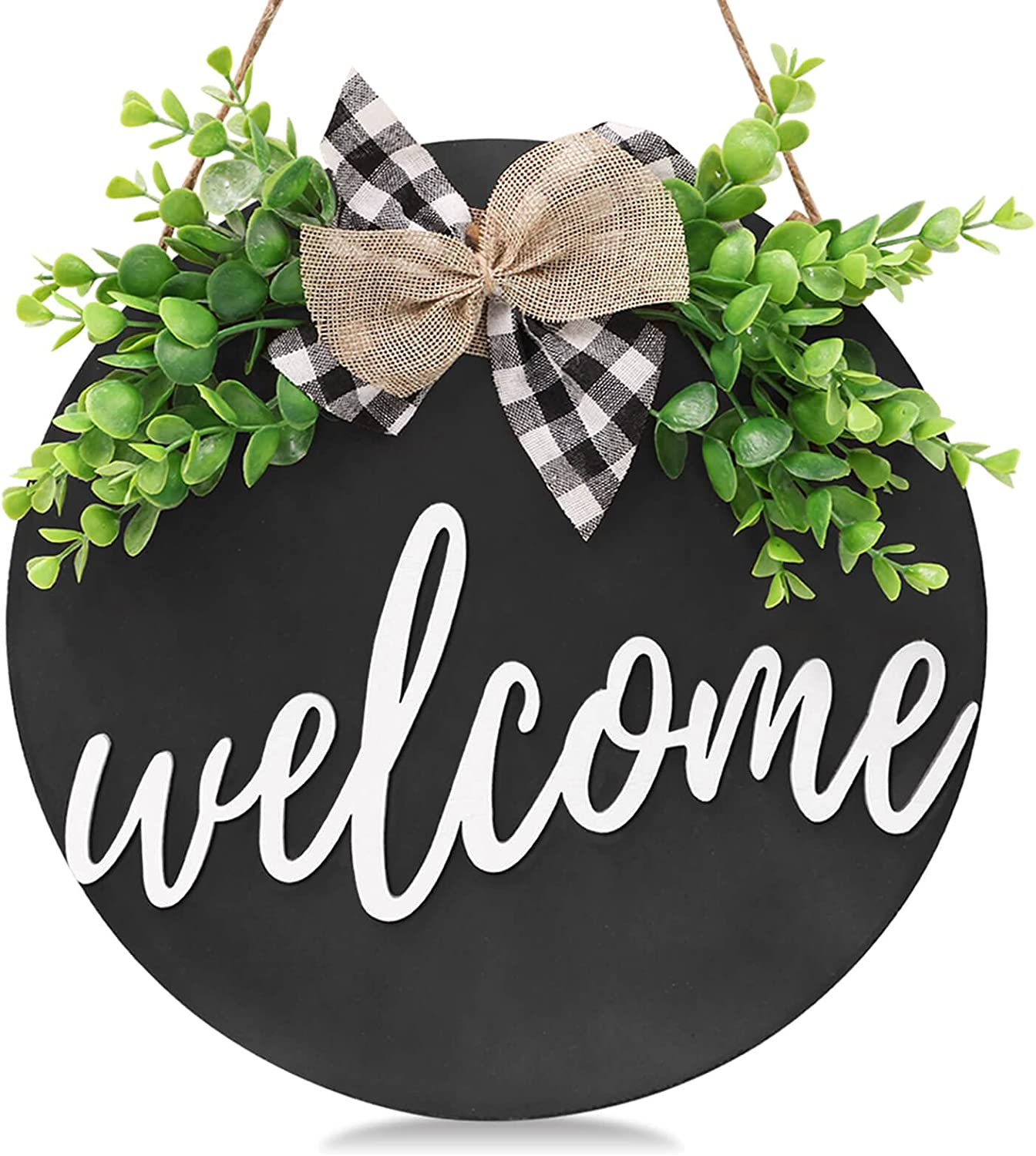 VIEFIN Welcome Wreath Sign for Farmhouse Front Porch Decor,3D Round Wood Sign with Greenery,Rustic Welcome Home Sign Porch Hanging Front Door Decorations,Black