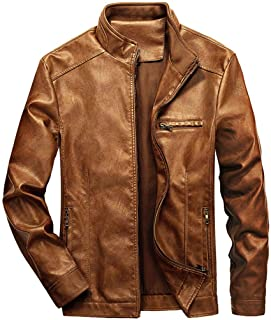 Sponsored Ad - WULFUL Men's Stand Collar Leather Jacket Motorcycle Lightweight Faux Leather Outwear