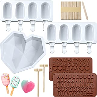 Diamond Heart Silicone Cake Mold Trays 8.7 Inch with 2 Pieces Wooden Hammers, 2 Pieces Silicone Popsicle Molds 4 Cavities ...