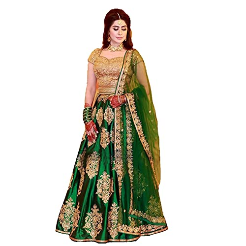 9693d91f28 Laxmi Enterprise Women's Taffeta Silk Embroidered Lehenga Choli (Green,  Free Size)