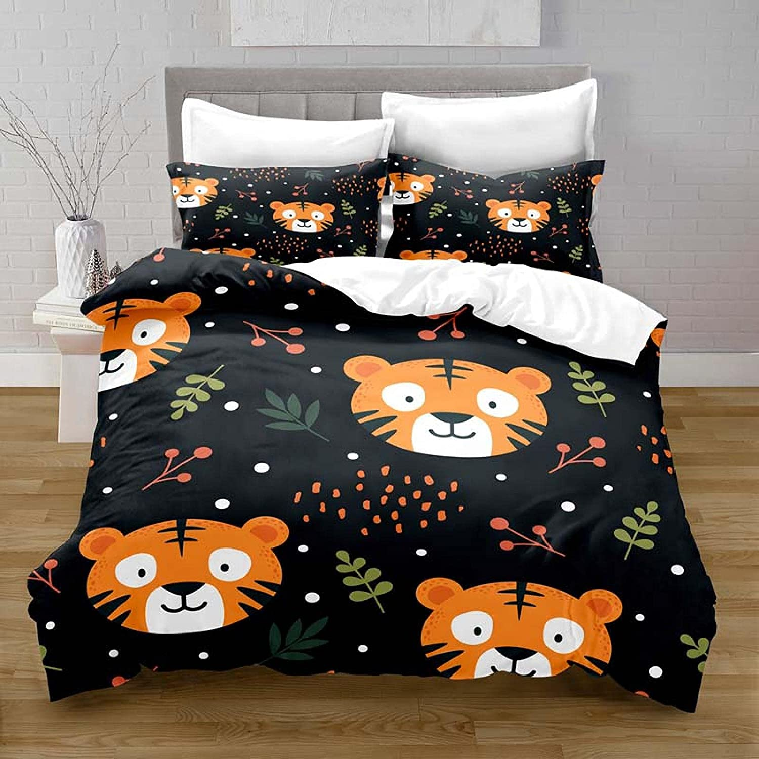 HQHM Duvet Cover King 3 Pieces 1 Green Tiger Cartoon Raleigh Fixed price for sale Mall Leaves Cute
