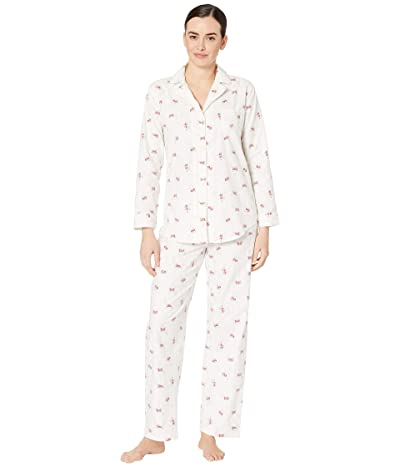 LAUREN Ralph Lauren Brushed Twill Long Sleeve Notch Collar Long Pants Pajama Set (Ivory Floral) Women
