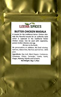 LEENA SPICES – Butter Chicken Seasoning Curry Powder Masala – Gluten Free – Real Indian Taste – With An Easy Cooking Yummy Recipe – No Color Or Salt Mix.
