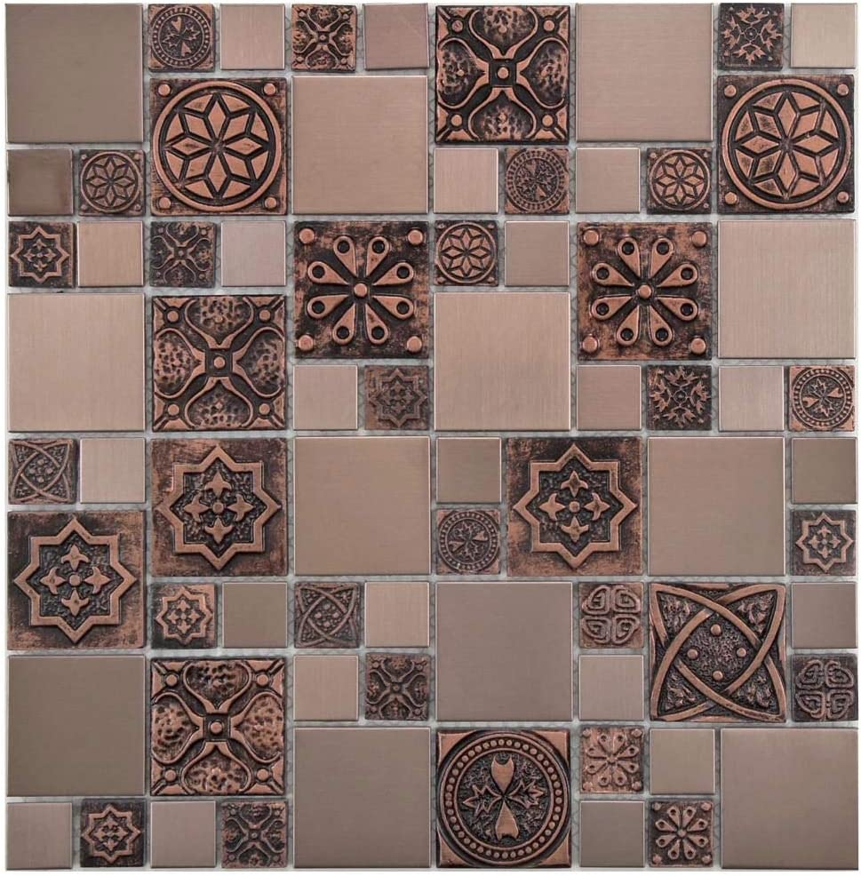 Copper Color Stainless Steel Metal Mosaic Tile For Kitchen Backsplash Wall 10 Sheets Amazon Com