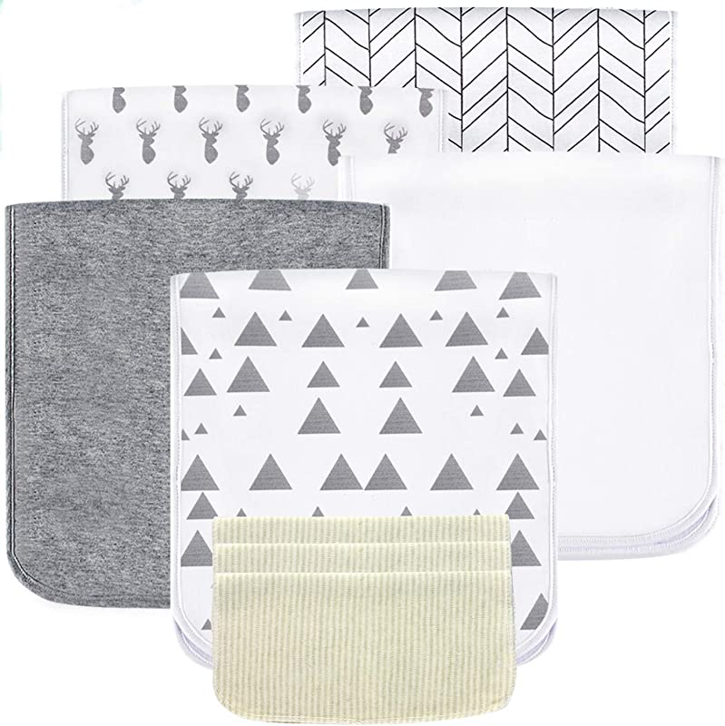 5 Pack Baby Burp Cloths Set Upgraded Ultra Absorbent 100 Organic Cotton Soft And Breathable Towels Larger 21 10 Double Layer With 3 Pack Small Baby Washcloths For Newborns Boys And Girls