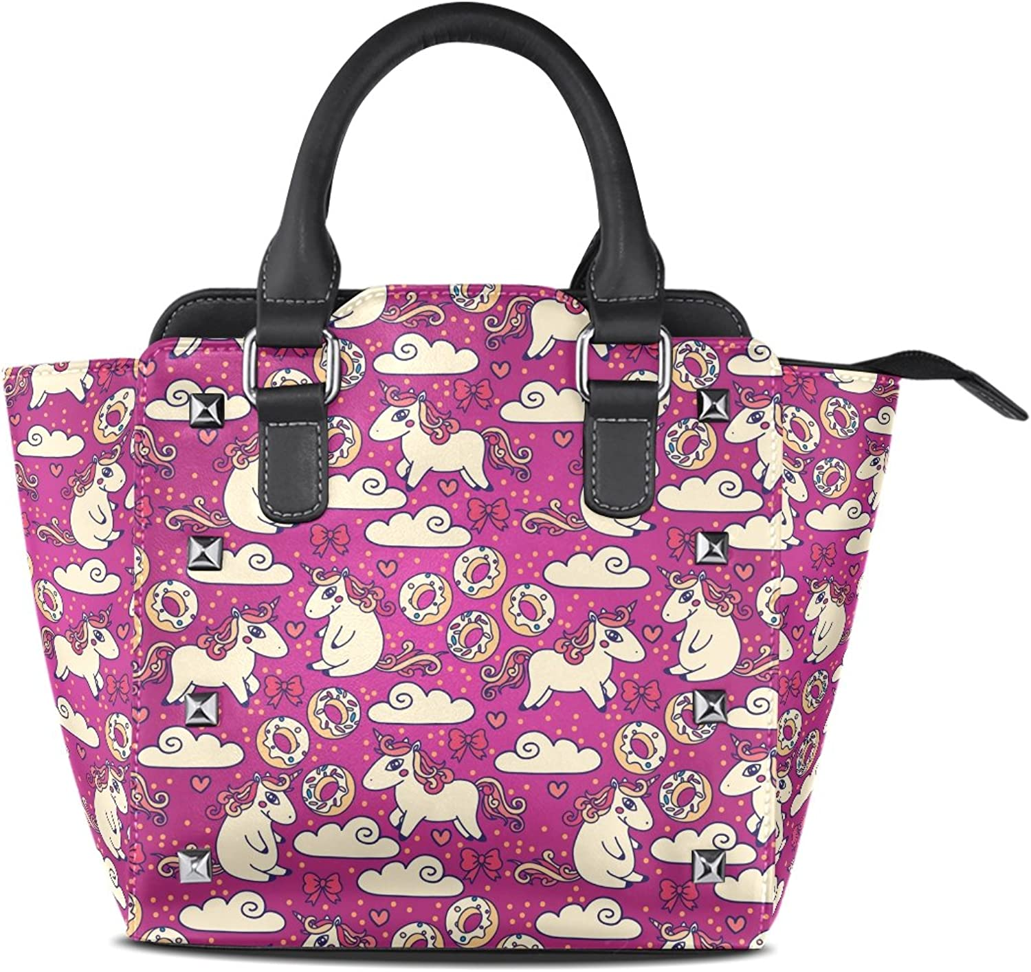 Sunlome Cute Doodle Unicorns and Sweets Print Handbags Women's PU Leather Top-Handle Shoulder Bags