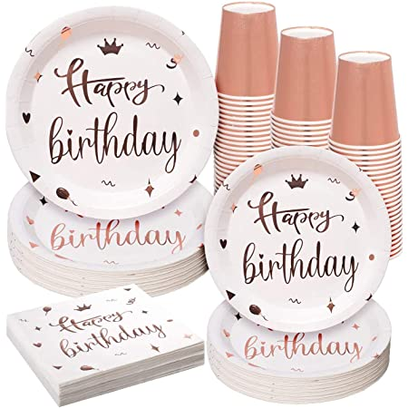 Serve 24 Guest Paper Cups and Napkin Paper Straws and Rose Gold Foil Tablecloth for Birthday Wedding Party Supplies Rorchio Rose Gold Party Tableware including Disposable Paper Plates