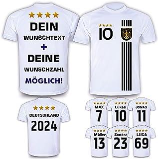 Deutschland Trikot mit GRATIS Wunschname  Nummer  Wappen Typ #D 2021 günstig im EM/WM Weiss - Geschenke für Kinder,Jungen,Baby. Fußball T-Shirt personalisiert