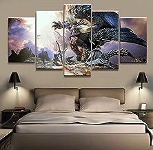 Modular cuadro de la lona de 5 piezas de Monster Hunter Juego pintura al óleo Pintura Arte del cartel de la decoración del hogar de la lona (Size (Inch) : Size1)