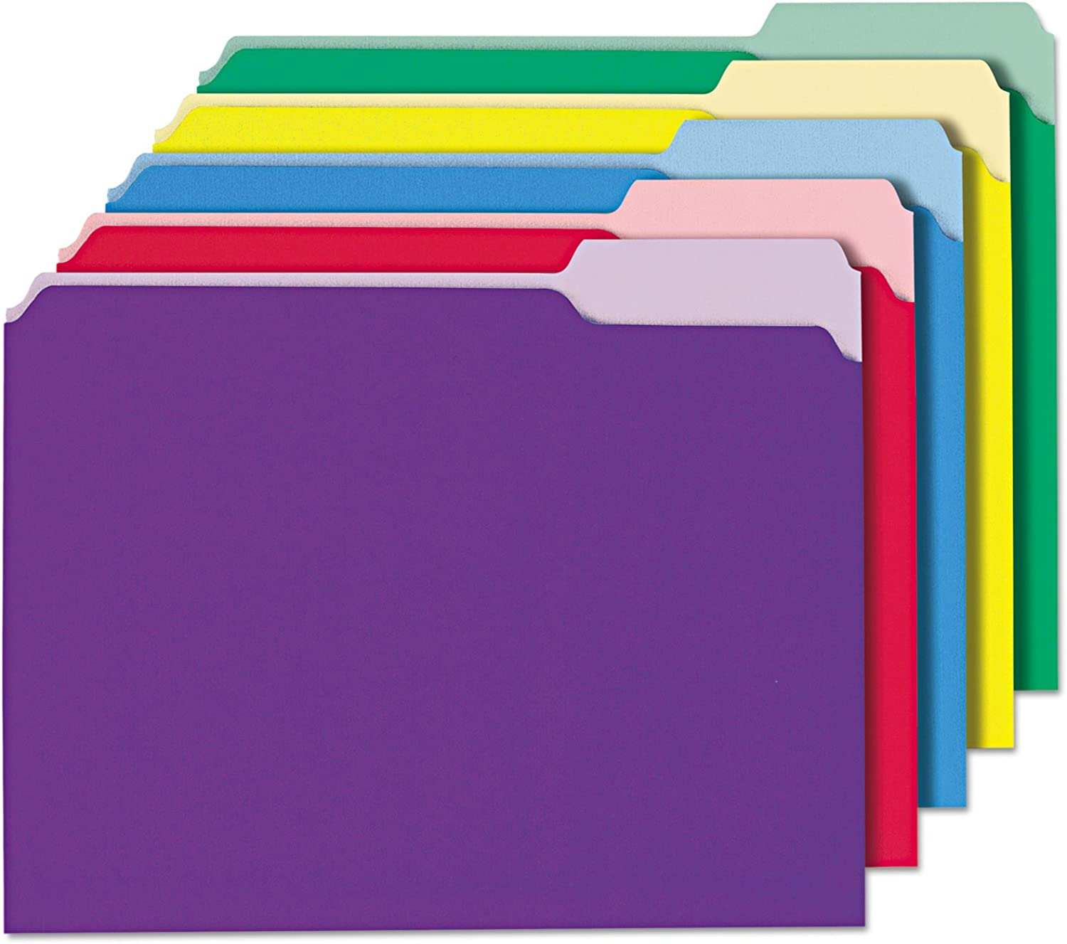 colord File Folders, 1 3 Cut SinglePly Top Tab, Letter, Assorted, 100 Box