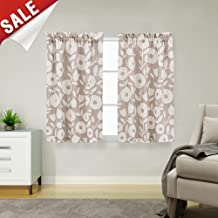 Floral Printed Cafe Curtains Linen Textured Tier Curtains for Kitchen Bedroom Short Curtains Rod Pocket Vintage Window Treatment Sets (2 Pairs, 45 L, Taupe and White)