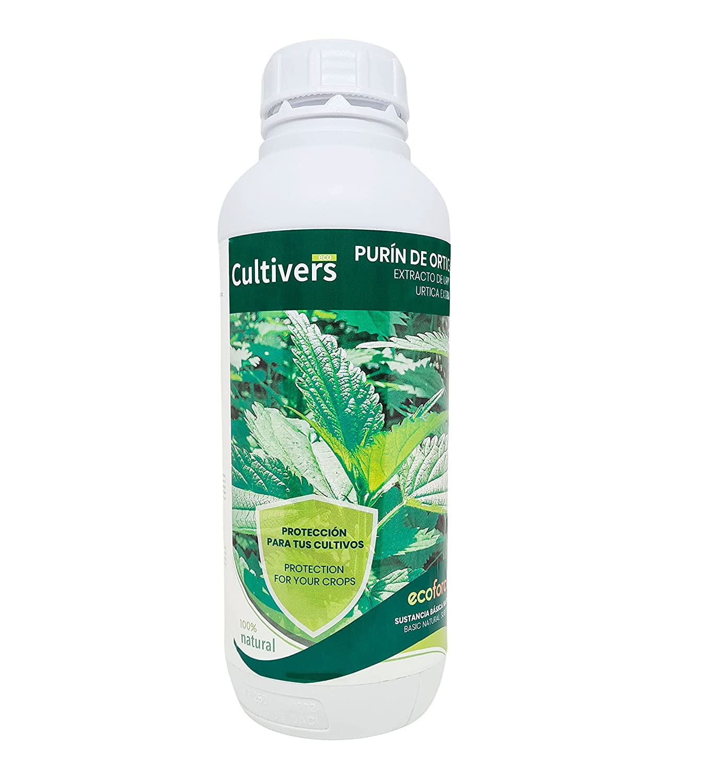 CULTIVERS Purín de Ortiga Ecológico de 1 L. Fungicida Corrige la clorosis férrica. Sustancia Básica Natural Abono preventivo contra las plagas control de hongos. Poder Reverdeciente