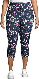 Women's Plus Size Super Soft Sueded Printed Capri Leggings (5X, Blue Cove Ditsy Floral)