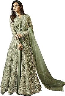 93392a4c38 Monika Silk Mill Womens Net Dress Material(1706_Green_Light Green_Free Size)