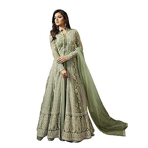e1068337bc MONIKA SILK MILL Women's Net Embroidered Anarkali Salwar Suit Salwar Suit  Materials (MSMLT1706_N, Green