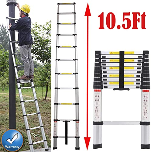 new arrival Aluminum Telescoping Ladder high quality 10.5Ft Extension Lightweight for Industrial Household Daily outlet sale Maintenance Decorating Painting, 330 lb Large Loading Capacity online