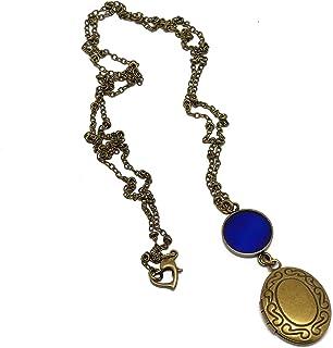 Retrò resina collana foto porta blu notte ottone bronzo fibbia cuore personalizzato regalo cuore natale amico madre comple...