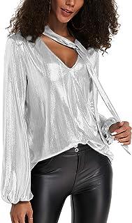 comprar comparacion YOINS Camiseta Manga Larga Mujer Camisa Cuello V Blusa Brillante Metálico Sexy Tops Mangas Acampanadas