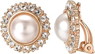 Bridal Clip Pearl Earrings for Non Pierced Ears 18K White Gold Plated Faux Pearl Clip On Earrings