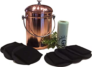 Kitchen Compost Pail Bin for Countertop - 1 Gallon Food Scrap Container, Leak proof Stainless Steel with Copper Plating - Includes 1 Year's Worth of Dual Charcoal Filters & Compost Pail Bags