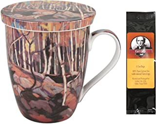 Tom Thomson Birch Grove Tea Mug, Infuser and Lid in Matching Gift Box and 1 Pkg of Tea Bags Bundle 2 Items