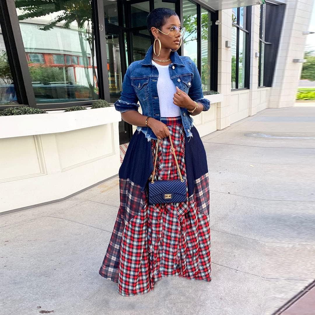 Pulkritu Women Irregular Maxi Skirts - Vintage Patchwork Plaid Long Skirt (Red,Medium)