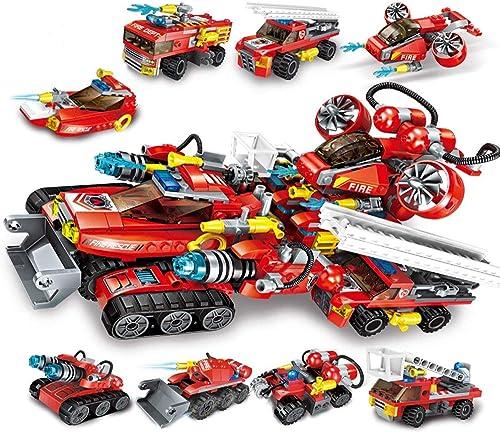 LEEDOO Kinder Bausteine  pielzeug Jungen montiert Feuer Serie Fit Feuerwehrauto dreidimensionale Zauber Einsatz 6-10-12 Jahre alt 8-in-1 extreme Rettung Chariot Kinder Spielzeug Gehirn Spiel