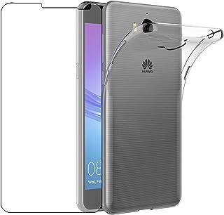 439a4c8cb98195 Custodia Huawei Nova Young Cover + Pellicola Protettiva in Vetro Temperato,  Leathlux Morbido Trasparente Silicone