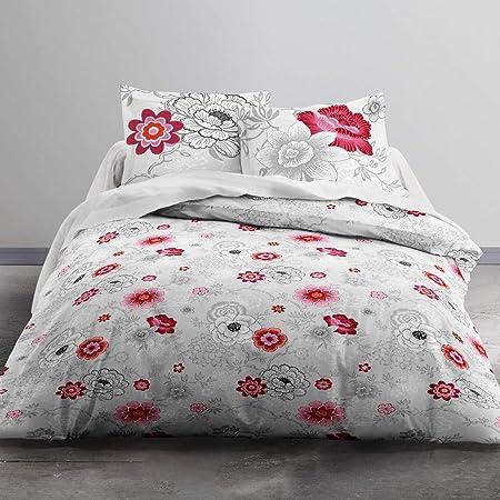 TODAY MAWIRA Rosa-Parure HC3 Housse de Couette zippée 220x240 + 2 taies d'oreiller 100% Coton, COTON-57 Fils, Gris Rose, 220 x 240 cm