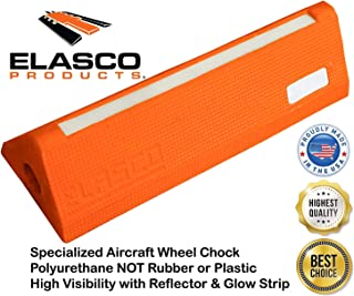 Aviation Aircraft Airplane Truck Industrial Wide Wheel Chock & Commercial Trailer Accessory with High Visibility Reflectors and Glow in The Dark Strip. Polyurethane Heavy Duty (16 Inch Width, Orange)