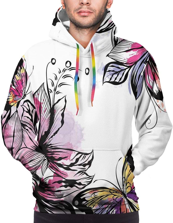 Men's Hoodies Sweatshirts,Flower Arrangement with Antique Leaf Motifs Monochrome Surreal and Dotted Art Style