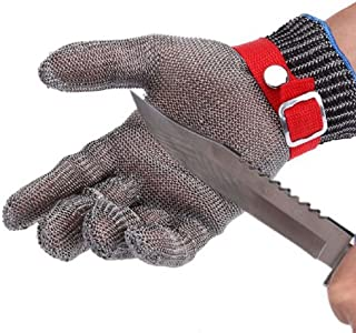 BINYEAE Cut Resistant Gloves Stainless Steel Chain Mail Gloves Butcher Gloves Cut Proof