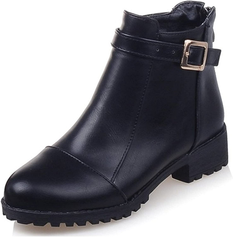 Robert Reyna Fashion Women's Buckled Strap Round Toe Back Zipper Block Low Heel Ankle Boots