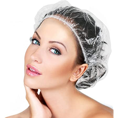 100/pieces Clear Elastic Disposable Shower Caps Hotel Swimming Cap for Home Bath Hair Salon Spa