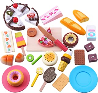 iPlay, iLearn Kids Snack Food Toys, Pretend Play Kitchen, Wooden Baking Play Set, Ice Cream, Breads, Plate, Magnetic Fruits Dessert Cutting Sets, Birthday Gift for 3, 4, 5 Year Olds Girls, Toddlers
