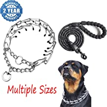 BLoomhua Dog Prong Training Collar - Stainless Steel Adjustable Pinch Pet Choke Collar with Comfort Rubber Tips,Safe and Effective,Adjustable Size and Quick Release Buckle(+Heavy Duty Dog Leash)