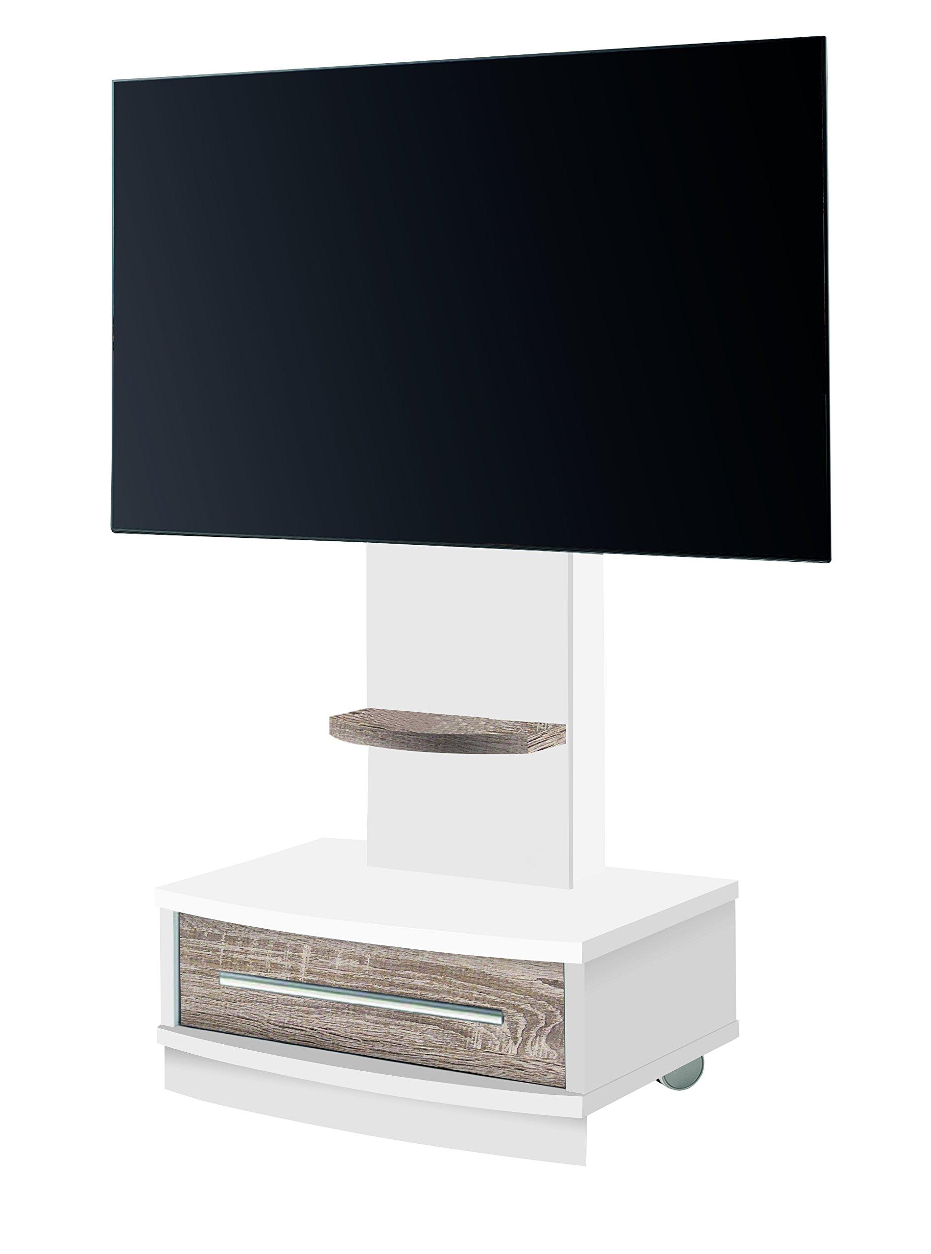 OVERHOME365 4239 B/CM - Mesa TV, madera, color blanco y cambrian, 72x50x131 cm: Amazon.es: Hogar