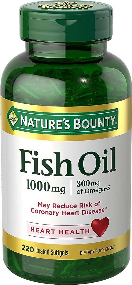 バウンス航空機光のNature's Bounty Fish Oil 1000 mg Omega-3, 220 Odorless Softgels 海外直送品