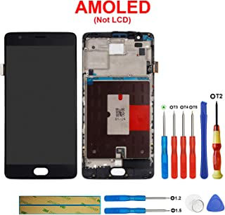 Swark AMOLED Display Compatible with OnePlus 3/3T A3010 OnePlus Three 3 A3000 A3003 Touch Screen Digitizer Assembly with Frame (Black)
