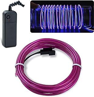 Lychee portátil 9 Pies 3M de neón que brillan intensamente del efecto estroboscópico electroluminiscente EL alambre con controlador de la caja de la bacteria para decoración de Navidad, las Fiestas rave, disfraz de Halloween (3M&púrpura)