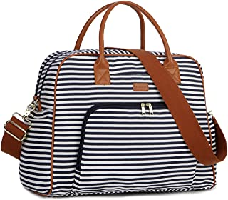 BAOSHA Canvas Carry On Weekender Overnight Travel Duffel Bag for Women HB-33 (Blue Striped)
