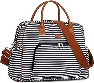 BAOSHA Canvas Carry On Weekender Overnight Travel Duffel Bag for Women HB-33 (Blue Striped)