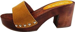 Silfer Shoes Zoccolo Donna- in Vero Legno - Pelle di camoscio Made in Italy - Colore Giallo -Colore Ocra