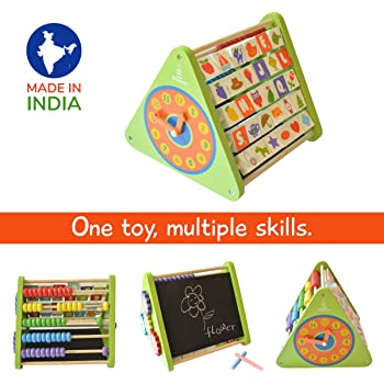 Shumee 5-in-1 Wooden Activity Triangle for Kids (2+ Year olds) - Learning Toy with Abacus, Chalkboard, Alphabet Blocks, Clock & Gears