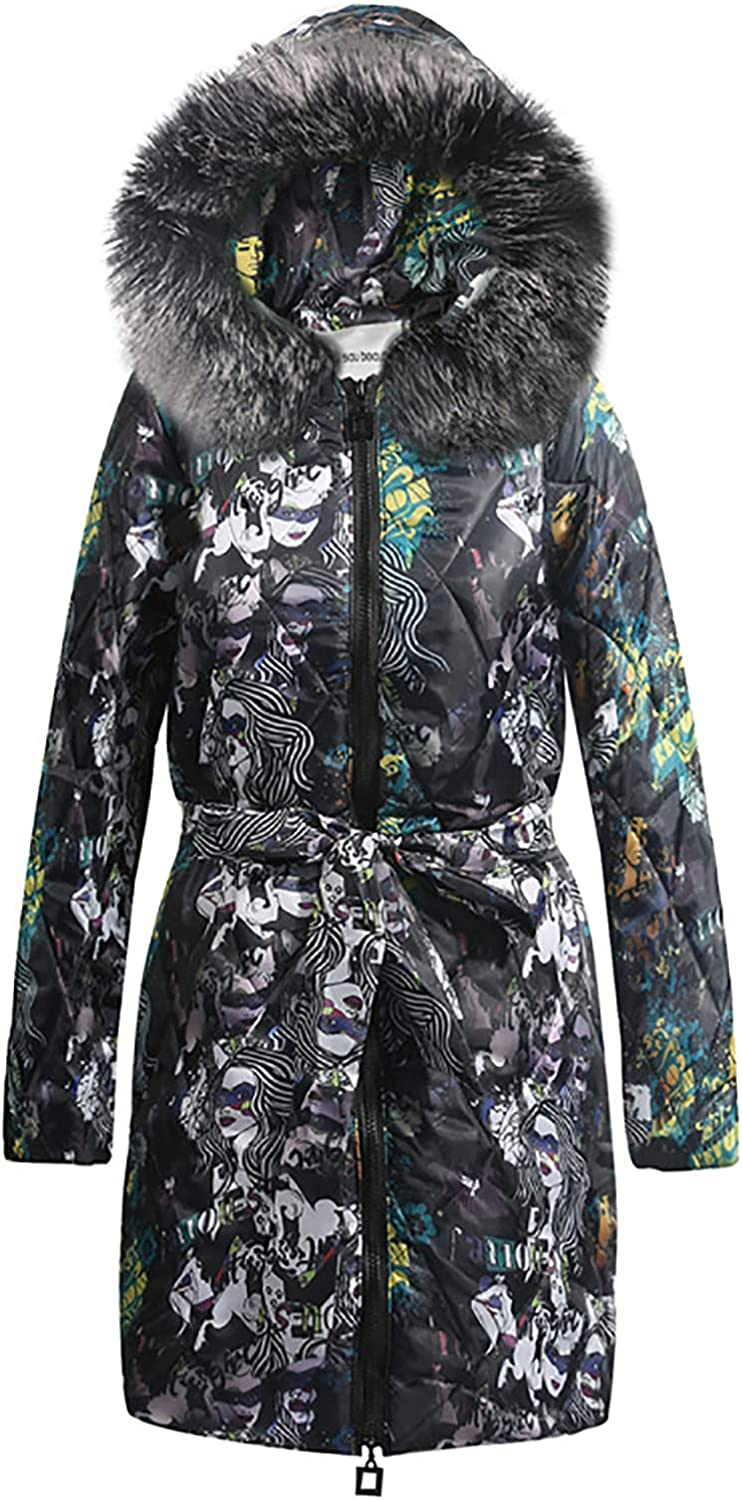 Women's Winter Chunky Oversized Outerwear Vintage Graphic Belted Zip up Mid Length Pea Coat Cotton Hooded Warm Jacket