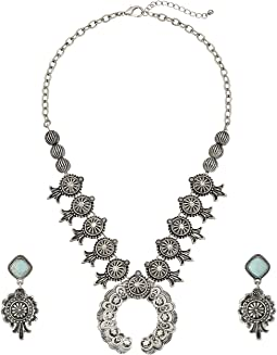 M&F Western - Etched Squash Blossom Necklace/Earrings Set