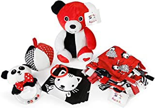 Smarty Baby Bundle - 5 Black, White and Red Infant Toys, Newborn Baby Gifts