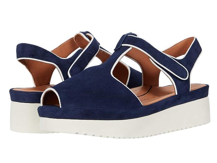 Vintage Sandals | Wedges, Espadrilles – 30s, 40s, 50s, 60s, 70s LAmour Des Pieds Almika Navy SuedeWhite Womens Shoes $163.02 AT vintagedancer.com