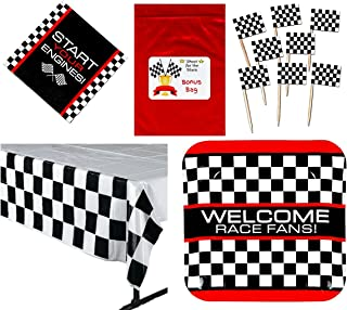 Multiple Racing Party Tableware Decorations Pack (144 Flag Food / Cupcake Picks, 8 Race Fan Car Checkered Flag Dinner Plates, 16 Luncheon Napkins, 1 Check Tablecover, Bonus Bag),