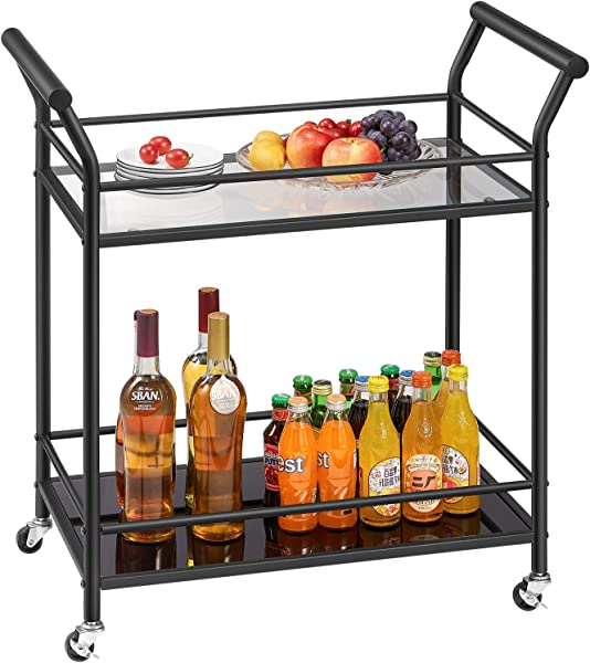 Kealive Rolling Bar Serving Cart Industrial Bar Cart 2 Tier Kitchen Island Utility Cart For Dinning Room Locking Caster Wheels With Metal And Glass 29 5 L X 15 8 W X 31 5 H Black